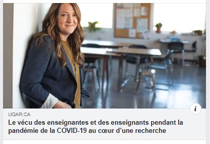 picture of woman in doorway of classroom with headline: Le vécu des enseignantes et des enseignants pendant la pandémie de la COVID-19 au cœur d'une recherche