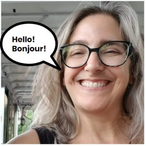 Mug shot of author saying Hello, Bonjour!