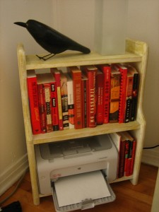 Some of my red books. I also like ravens, this one was purchased last summer on a trip to Vancouver. It remember lugging it back home - it's made of cement.