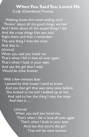 When You Said You Loved Me by Cody Oserakete Thomas